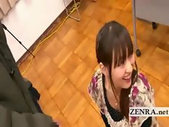 Bizarre Japanese AV star penis greetings with cumshot