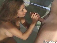 Cute girl rubbing a cock in the bathtub