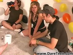 Girls playing with a guy on truth or dare