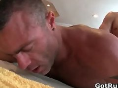 Hunky dude gets his smooth body massaged part2