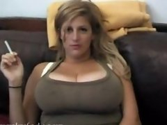 huge tits blonde smoking solo