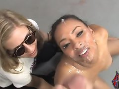 Ebony revenge slut interracial fuck and bukkake facial