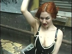 Three chicks in latex pleasure each other in public