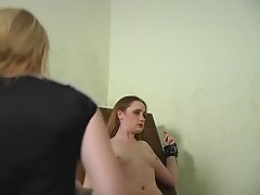 Blonde mistress spanks ass and clamps pink pussy