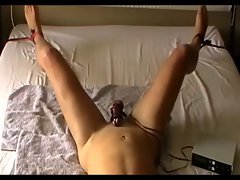 Chained to bed, dick torture, no cumshot