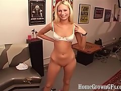 HomeGrownGFs Hot Blonde With Shaved Pussy Gets Face Fucked