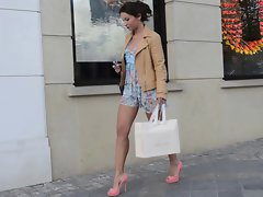 Teen shopping public in high heels &amp, dress (+upskirt)