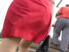 stockings upskirt in windy day