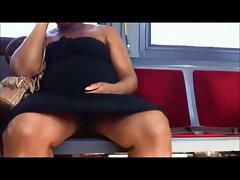 Upskirt on the bus no panties