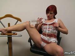 Redhead play game of wet shirt