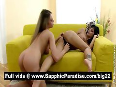 Hot brunette and blonde lesbians fingering and licking pussy and having lesbian love