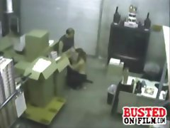 Security camera catches these two at work with her giving head