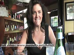 Brianne_ Amateur brunette flashing her tits and acting naughty in a public place