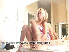 Audrey _ Amateur blonde masturbating with her lipstick