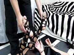 Feet tickle in nylon