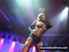 Brunette officer strips to naked