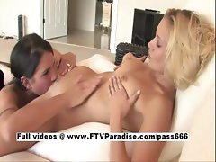 Michaela and Lena funny lusty lesbian babes licking