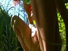 Petite russian teenie peeing in a forest