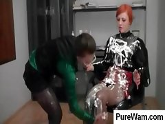 Redhead and brunette lesbians are spreading cream all over
