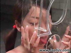 Jaunty Asian gurl with an inharmonious tonton consumes some sperm