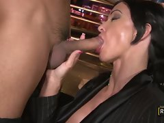 Hot milf Jewels loves to suck and tug on a beefy hard cock stick