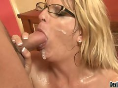 Cum craving Robbye Bentley receives a rich load of cock spurt allover her face