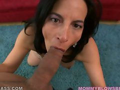 Hot momma Melissa Monet feeds her starving mouth with a live hard sausage