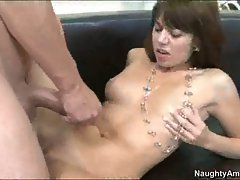 Scorching hot wife gets a nice hot load dripping on her after a real good action