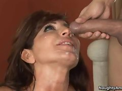 Deliciously sexy momma likes the awesome shot she gets after a horny fuck