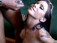 Lusty brunette receives an awesome rich load of cock spurt on her face
