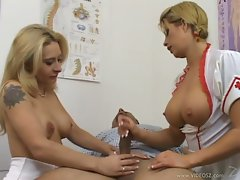 Girlfriends Rebecca and Brooke gives an awesome massage to a nice erect dick