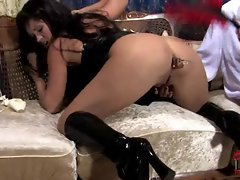 Fetish slut is butt plugged up her tight little asshole in her kinky boots