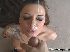 Cum craving whore Chayse Evans loves the hot spurt of cock milk on her face