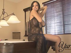 Yurizan Beltran takes off her sexy black dress and plays with her sloppy cunt
