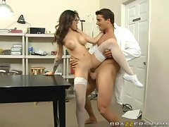 Adrenalynn rides a thick meaty cock filling her tight asian cunt