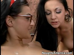 Sexy sluts Presley Maddox and Audrey Bitoni share a large cock and cum blast.