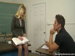 Hot Blonde Teacher Tutors and then Rides Student In Her Classroom