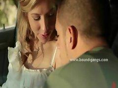 Blonde convinced to suck cock in car