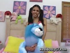 Ponytailed busty latina spreading pussy