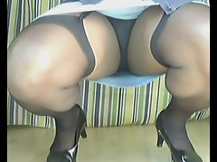 TGirl Black Knickers Squat 159xh