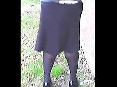 TGirl Skirt falls down Oops 098xh