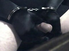 Gloved and handcuffed and self pleasure ..