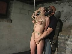 tied tits riding a pussy rope
