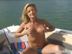 HomeGrownOutdoorSex - Sexy Blonde Masturbates On A Boat
