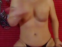 Kinky Slave slaps her own tits
