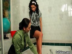 Two sexy babes in officer clothes part4