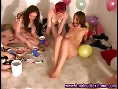 Lesbian amateurs at oral sex dare party