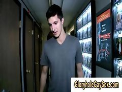 Gaysex action from oral through gloryhole in video store