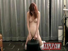 young college girl rides the sybian