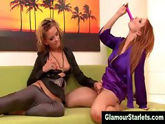 Glamour girl clothed lesbians